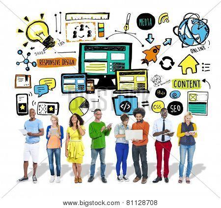 Diversity Casual People Responsive Design Digital Communication Content Concept