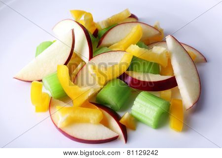 Waldorf salad with salad pepper on plate close up
