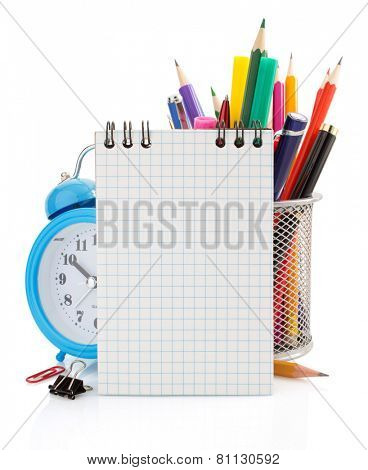 notebook and school supplies isolated on white background