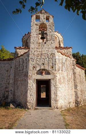 Very Old Small Orthodox Christian Church At Rhodes Island