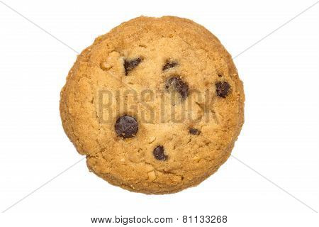 Chocolate Chips Cookie Isolated White Background