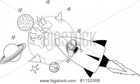 Illustration of Santa flying on a rocket in the starry sky
