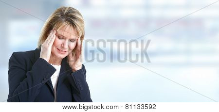 Woman having migraine headache. Stress and depression.