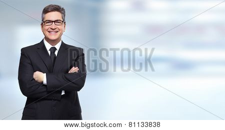 Executive smiling businessman over blue banner background