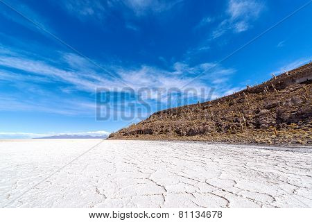 Uyuni Salt Flats And Blue Sky