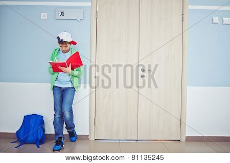 Cute schoolboy writing notes in exercise-book while standing by classroom door