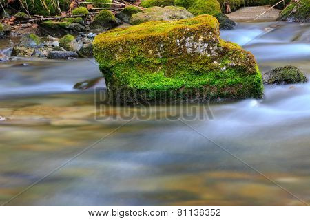 Green mossy stone in mountain stream