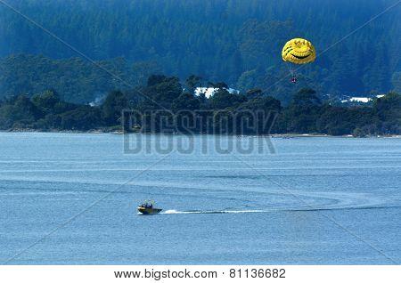 Parasailing Over Lake Rotorua New Zealand