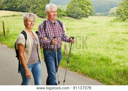 Happy senior couple hiking in summer in nature