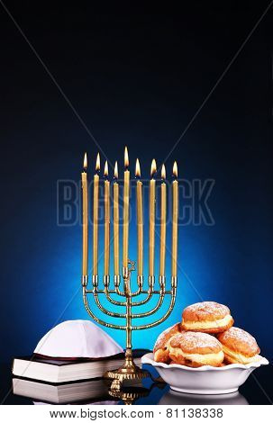 Festive composition for Hanukkah on dark background