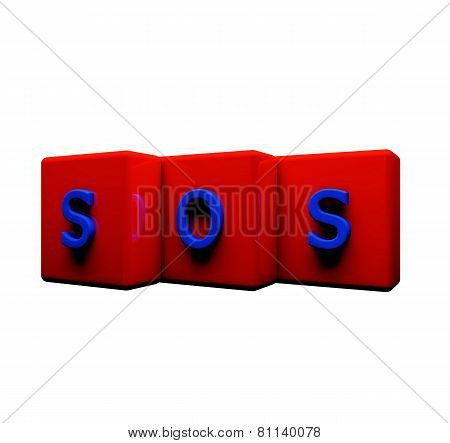 red dice with the word SOS