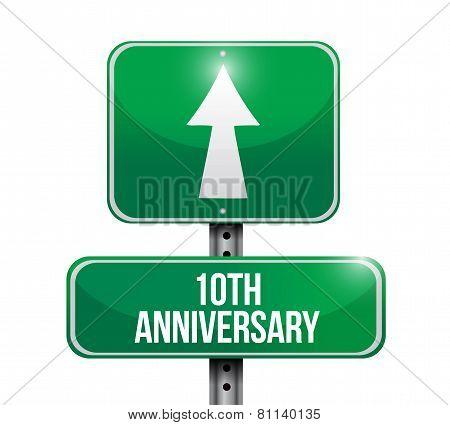 10Th Anniversary Road Sign Illustration