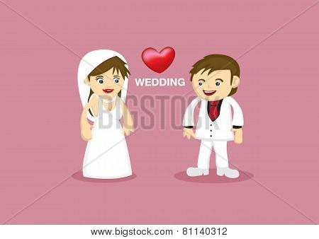 Romantic Wedding Couple Vector Cartoon