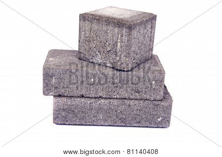 New Gray Decorative Street Pavement Concrete Bricks Paving Stone Isolated