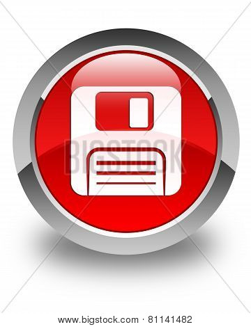 Floppy Disk Icon Glossy Red Round Button