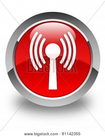 Wlan Network Icon Glossy Red Round Button