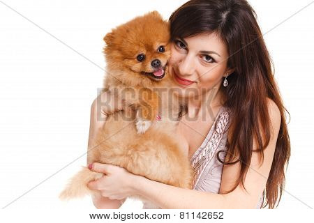 Portrait of the woman and her favourite doggie.