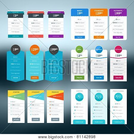 Set Of Vector Pricing Table In Flat Design Style For Websites And Applications
