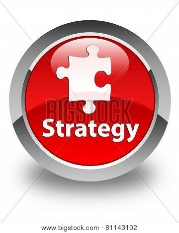 Strategy Glossy Red Round Button