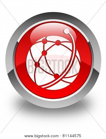 Global Network Icon Glossy Red Round Button