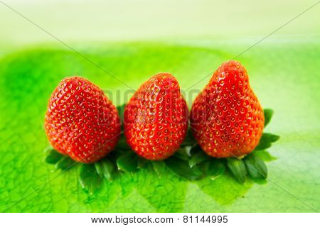 Three Red Strawberries