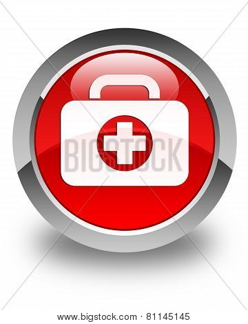 First Aid Kit Icon Glossy Red Round Button