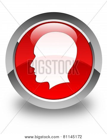 Head (Woman Face) Icon Glossy Red Round Button