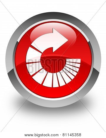 Rotate Arrow Icon Glossy Red Round Button