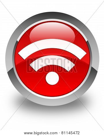 Wifi Icon Glossy Red Round Button