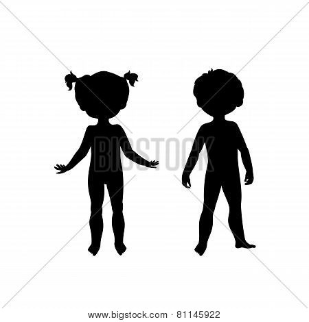 Black silhouettes of cute kids