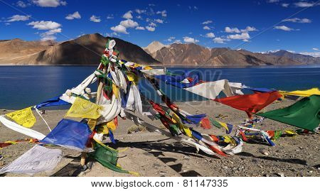 Buddhist Prayer Flags Flying At Pangong Lake, Ladakh, India