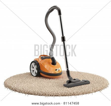 Vacuum Cleaner On The Carpet Isolated On White Background