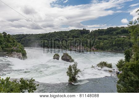 The Large Waterfall On Rhine River