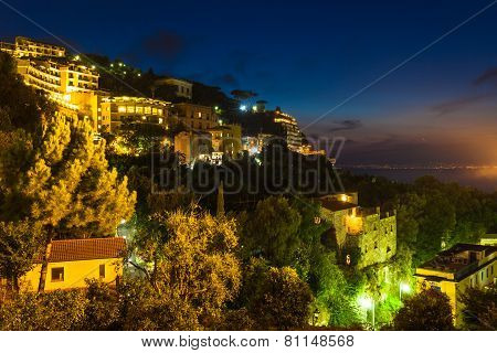 Night View Of Sorrento And The Mediterranean Sea