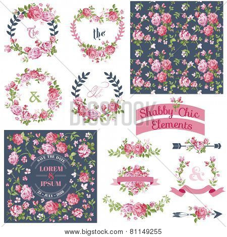 Vintage Floral Set - Frames, Ribbons, Backgrounds - for design and scrapbook - in vector