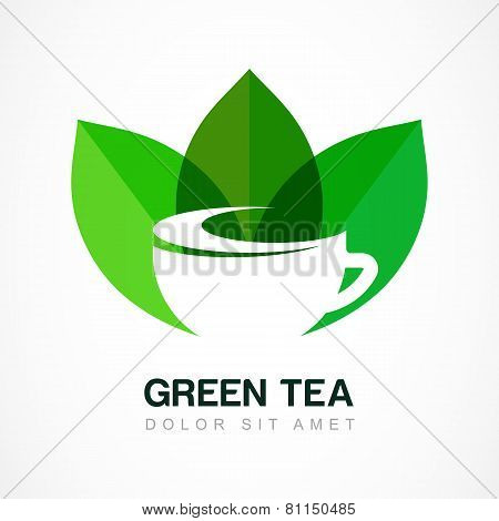 Abstract Logo Design Template. Green Tea Symbol, Natural Herbal Drink. Vector Negative Space Icon