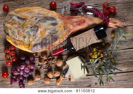 Ham Leg And Traditional Spanish Tapas