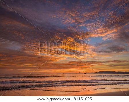 Sunset on the beach of Ao Nang in Krabi Thailand
