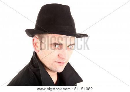 Man in black with hat