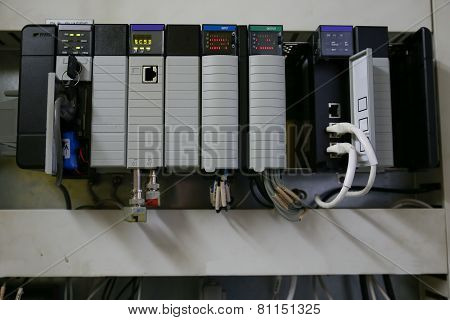 Electronic components in control system. The circuit of control system in control box.
