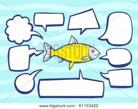 Illustration Of Fish With Speech Comics Bubbles On Blue Pattern Background.