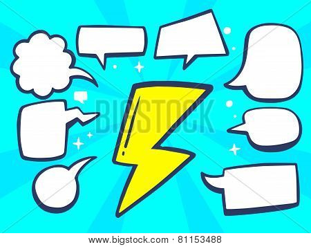 Illustration Of Yellow Lightning With Speech Comics Bubbles On Blue Background