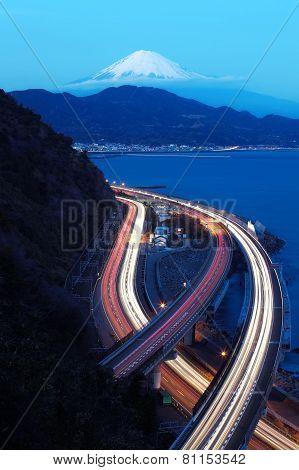 View of Tomai expressway and Suruga bay with mountain fuji at Shizuoka prefecture