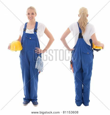 Front And Back View Of Happy Woman In Blue Builder Uniform Holding Yellow Helmet Isolated On White