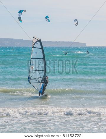 Wind and kite surfers