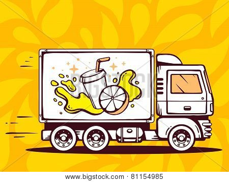 Illustration Of Truck Free And Fast Delivering Fresh Fruit Juice To Customer On Yellow Patter