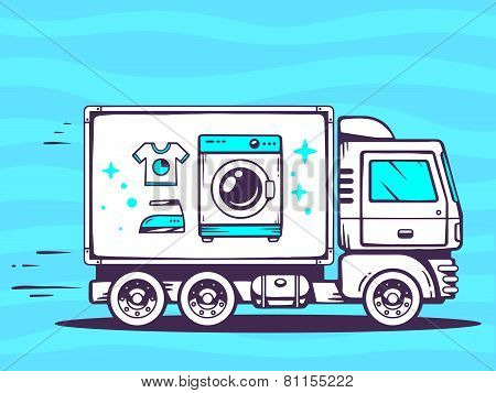 Illustration Of Truck Free And Fast Delivering Washing Machine To Customer On Blue Background