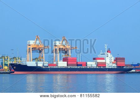Commercial Ship And Container On Port Use For Import ,export And Water Logistic Transport Industry