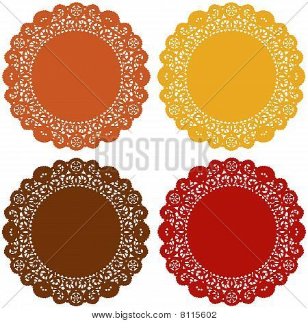 Lace Doily Place Mats, Harvest Colors