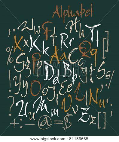 Vector Set Of Calligraphic Acrylic Or Ink Alphabet. Dark Background.